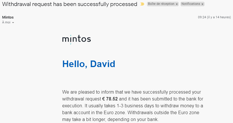 Process Mintos Email de confirmation